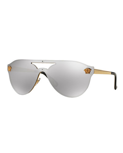 Mirrored Shield Brow-Bar Sunglasses, Gold/Light Gray