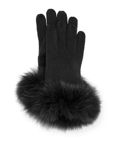 Cashmere Tech Gloves w/Fox Fur Cuff, Black