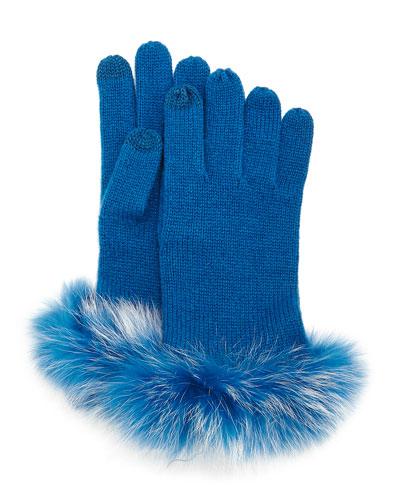 Cashmere Tech Gloves w/Fox Fur Cuff, Peacock Blue