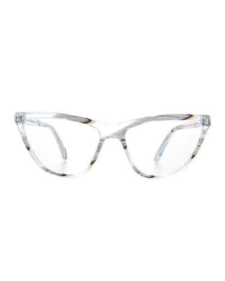 Cairo Cat-Eye Optical Frames, Clear Zebra