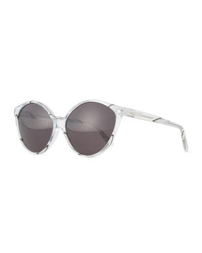 Istanbul Cat-Eye Acetate Sunglasses, Clear/Zebra