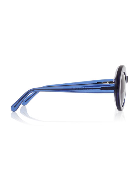San Francisco Transparent Oval Sunglasses, Dark Blue