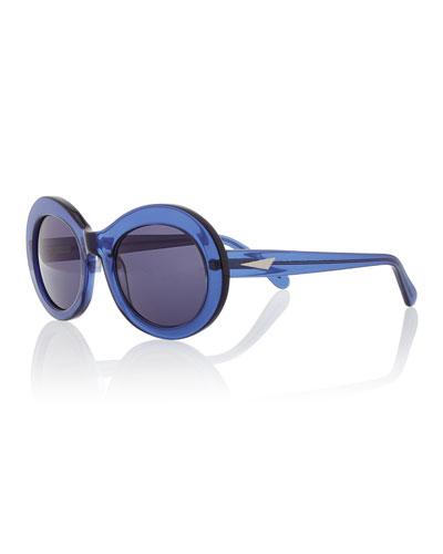 San Francisco Transparent Oval Sunglasses, Dark Blue