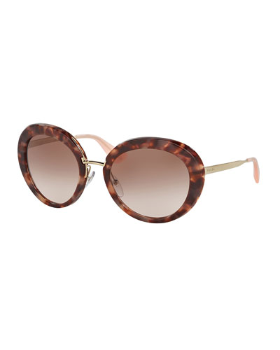 Round Gradient Plastic/Metal Sunglasses, Brown/Pink