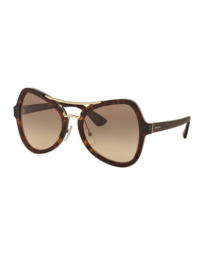 Gradient Oversized Aviator Sunglasses, Havana