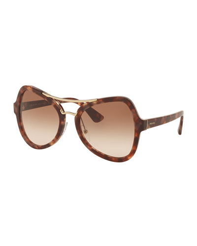Gradient Oversized Aviator Sunglasses, Brown/Pink