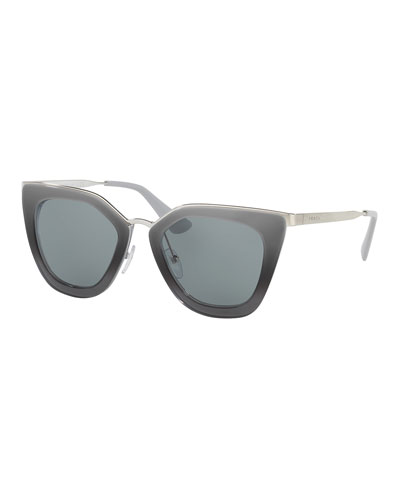 Monochromatic Metal-Trim Geometric Cat-Eye Sunglasses, Gray