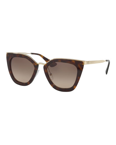 Gradient Metal-Trim Geometric Cat-Eye Sunglasses, Havana