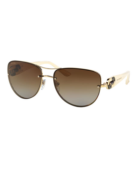 BVLGARI Universal-Fit Aviator Sunglasses, Cream