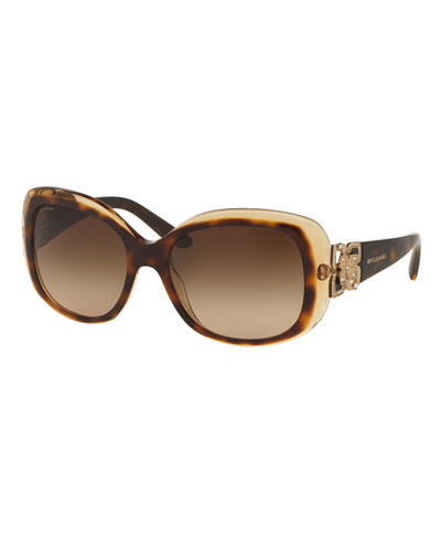 Universal-Fit Floral Butterfly Sunglasses, Havana