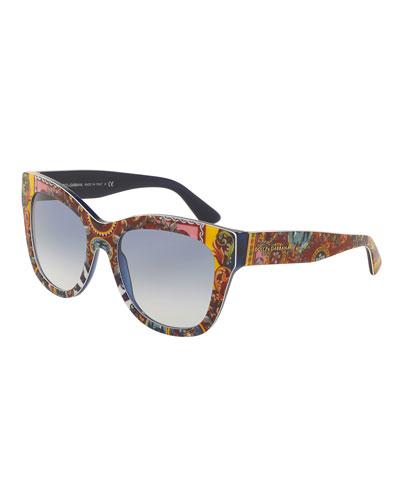 DNA Printed Square Sunglasses, Multicolor