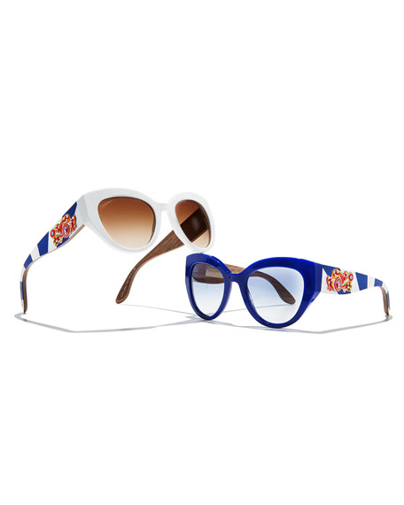 Wood-Trim Universal-Fit Cat-Eye Sunglasses, Blue