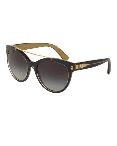Universal-Fit Square Brow-Bar Sunglasses, Black