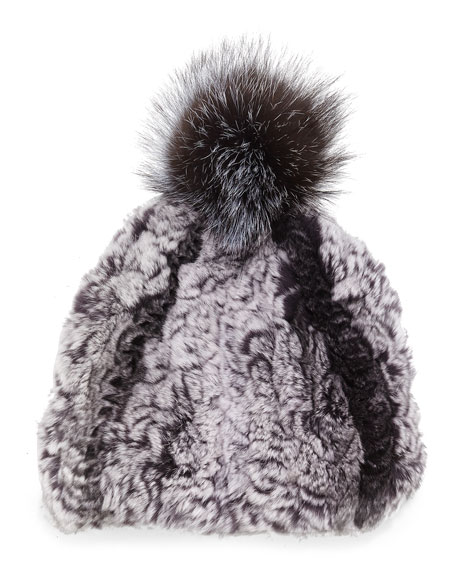 Knitted Fur Pom-Pom Hat, Smokin'