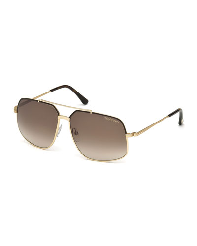 Ronnie Gradient Geometric Aviator Sunglasses, Rose Gold/Brown