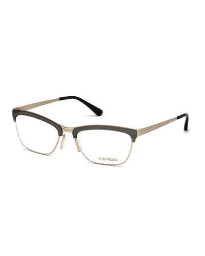 Metal Transparent-Brow Optical Frames, Gray