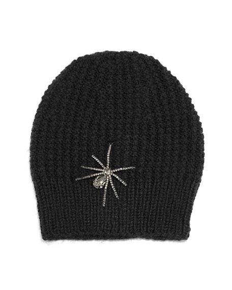 Crystal Spider Knit Beanie Hat, Black