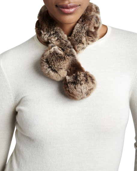 Belle Fare Rabbit Fur Neck Warmer, Natural Brown