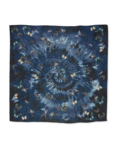 Tie-Dye Butterfly Shawl, Indigo