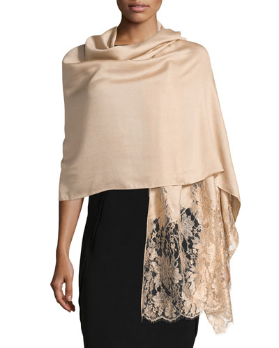 Modal-Blend Lace-Trim Shawl, Gold