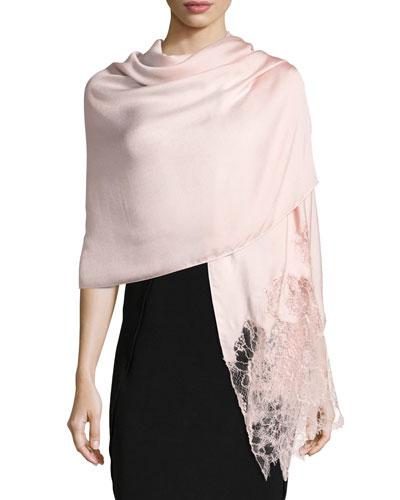 Woven Lace-Trim Shawl, Pink