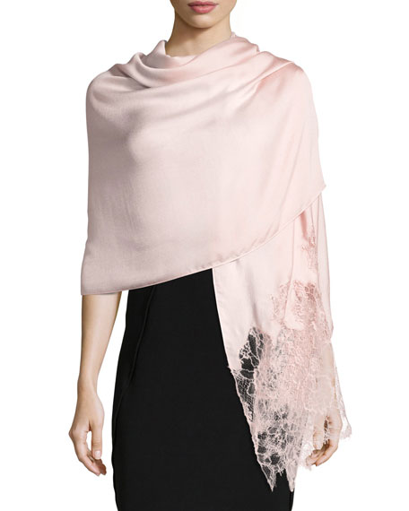 Valentino Garavani Woven Lace-Trim Shawl, Pink