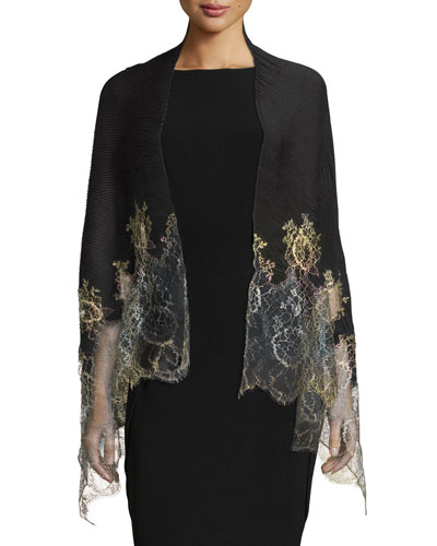 Shaded Lace-Trim Plisse Shawl, Black/Gold