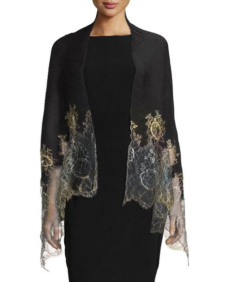 Shaded Lace-Trim Plisse Shawl, Black/Gold