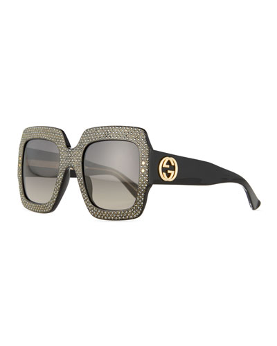 Crystal-Trim Square Gradient Sunglasses, Black