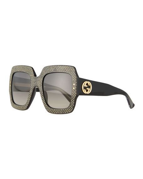 Gucci Crystal-Trim Square Gradient Sunglasses, Black