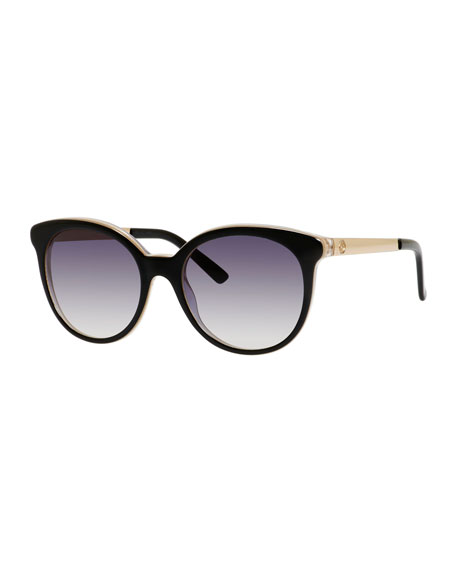 d080e87d05da Gucci Rounded Cat-Eye Sunglasses, Black/Indigo