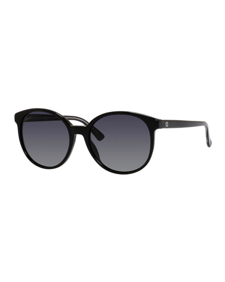 Gucci GG-Temple Round Butterfly Sunglasses, Black