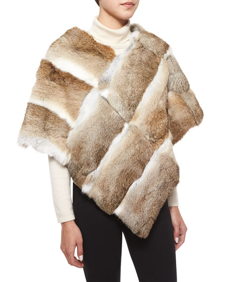 Adrienne Landau Goma Rabbit Fur Poncho