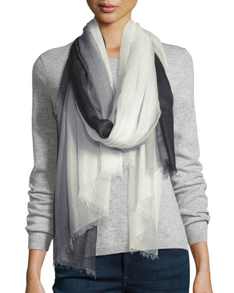 Ombre Cashmere Shawl, Black/White