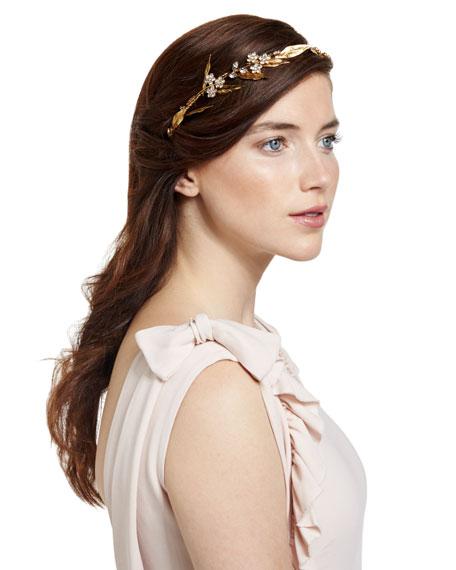 Crystal Flower & Golden Leaf Headband