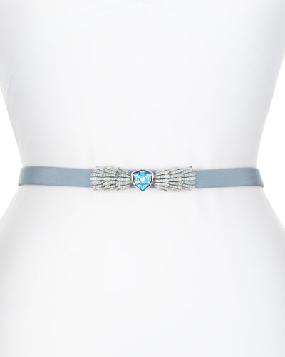 Silk Faille Crystal-Buckle Belt, French Blue