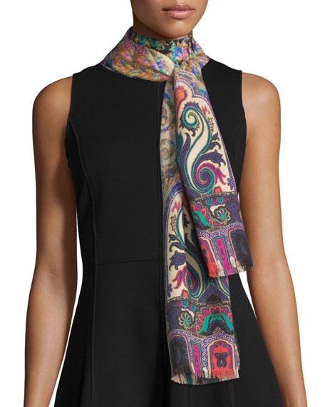 Multipattern Cashmere-Blend Scarf, Multicolor