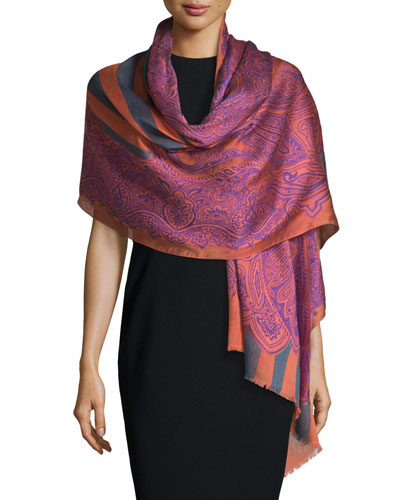 Stripe & Paisley Wool-Blend Scarf, Pink/Gray