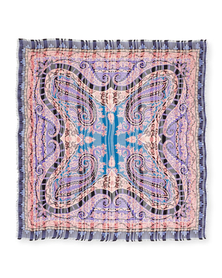 Silk Paisley Square Scarf, Blue/Purple