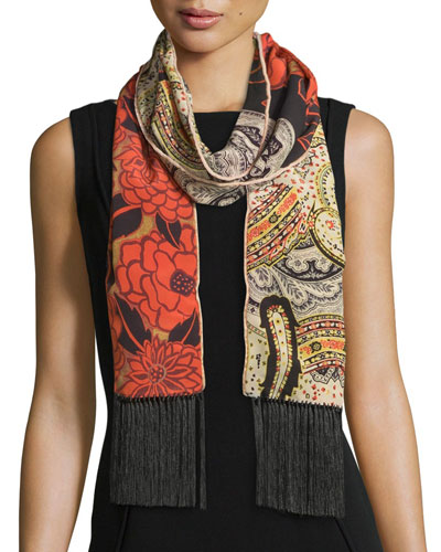 Silk Floral & Paisley Fringe Scarf, Coral/Ivory