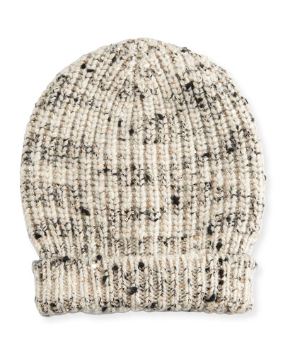 Ribbed Cashmere-Blend Sequined Beanie Hat, Seasalt