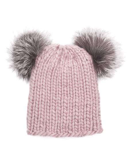 Mimi Knit Beanie Hat w/Fur Pom-Poms, Rose