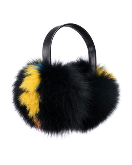 Janine Leather & Fur Earmuffs, Black/Multi