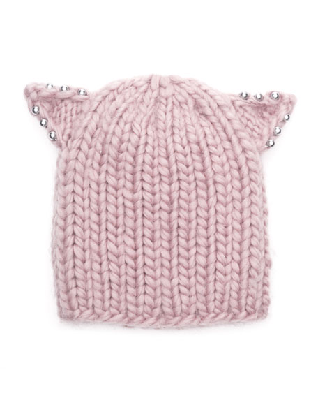 Felix Knit Beanie Hat w/ Beaded Cat Ears, Rose