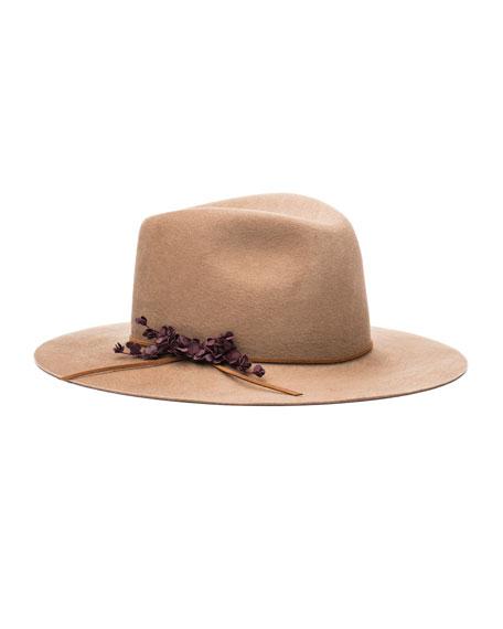 EUGENIA KIM GEORGINA EMBELLISHED FELT HAT, CAMEL