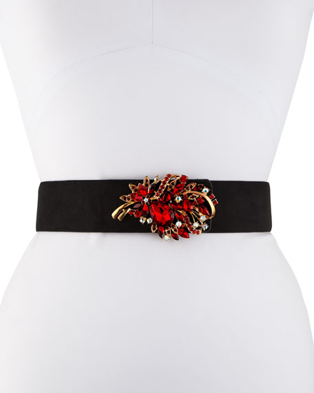 Teresa Suede Crystal Leaf Belt, Black/Red