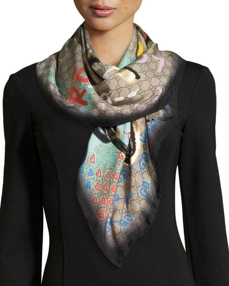 Life is Gucci Square Silk Scarf, Multicolor