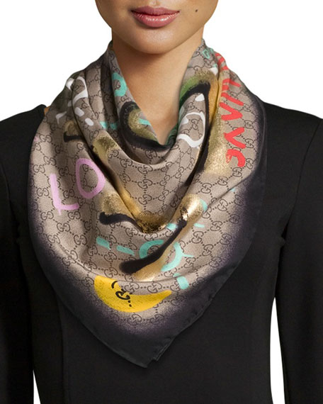 Life is Gucci Square Silk Scarf, Multicolor