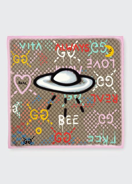 Silk Square UFO Scarf, Pink/Multicolor