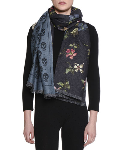 Skulls & Stars Wool Scarf, Black/Blue